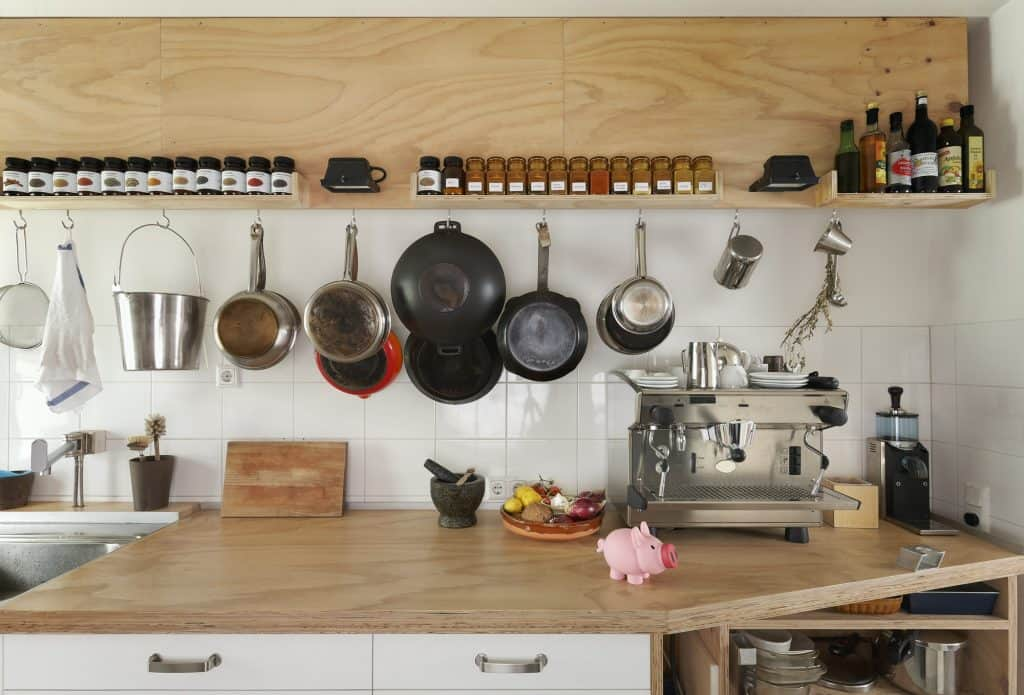 Counter space and cooking utensils in modern kitchen